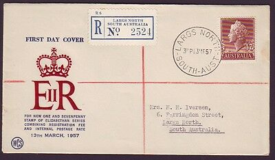 1957 1/7 Qeii (New Registration Rate) On Registered Wesley First Day Cover