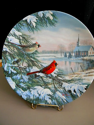 """Cardinals in Winter"" by Sam Timm -  Knowles Collector Plate - 1990"