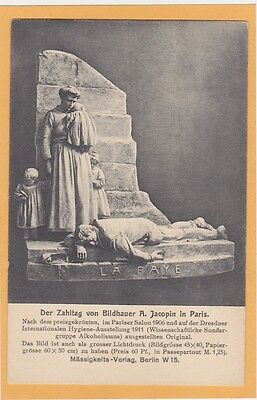 Temperance Prohibition Postcard - Statue of Impact of Alcoholism on Family