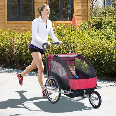 Aosom Bike Trailer Baby 2in1 Stroller Kids Seat Cycling Hitch Red