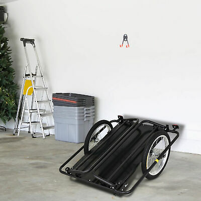 Aosom Bike Cargo Trailer w/ Two Wheels Bicycle Large Carrier Cart Yard Patio