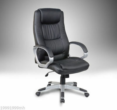 "HOMCOM 46"" High Back Ergonomic Office Chair Manage Computer Desk Chair Black"