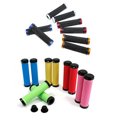 Mountain and BMX Bike Double Lock On Bicycle Handle Bar Grips Pair