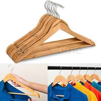 Wooden Hangers Coat Suit Garment Clothes Wardrobe Wood Hanger Trouser Bar Set