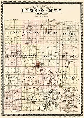 Old County Map - Livingston Michigan - Ogle 1895 - 23 x 32.29