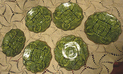 6 EAPG MCKEE BROTHERS GREEN GOLD GLASS PLATE HICKMAN LA CLEDE JUBILEE TOY CHILD?