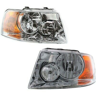 03-06 Ford Expedition Headlights Headlamps w/Chrome Bezel Pair Set NEW