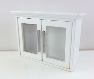 Melody Jane Dolls House Miniature Kitchen White Wooden Wall Cabinet Display Unit