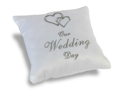 White Wedding  Ring  Pillow / Cushion  - Embroided Hearts Wg305