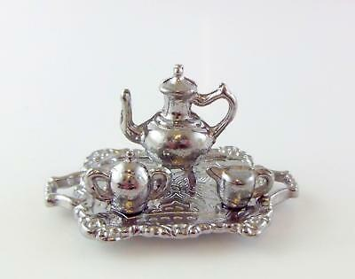 Dolls House Miniature 1:12 Dining Room Accessory Silver Tea Coffee Set and Tray