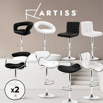 2x Bar Stool Kitchen Dining Chair Barstool PU PVC Leather Gas Lift Black White