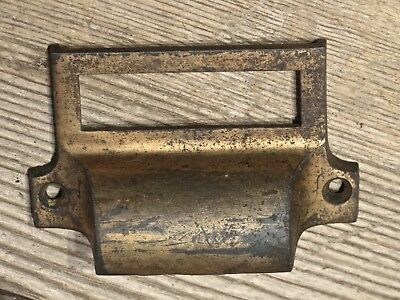 "Apothecary Pull drawer handle 3 ¼"" file card holder old cast iron bronze vintage"