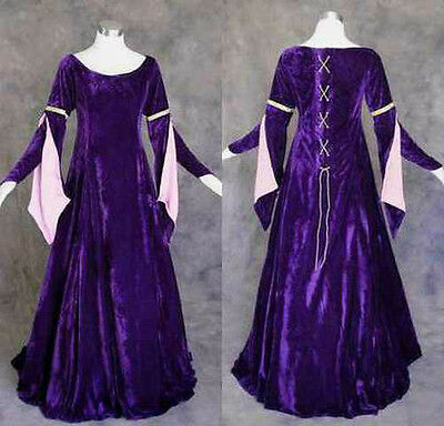 Medieval Renaissance Gown Dress Costume LOTR Wedding 2X Purple