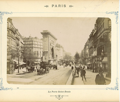 France, Paris, La Porte Saint Denis à Paris vintage albumen print  Tirage albu