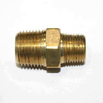 """3/8"""" x 1/2"""" NPT Male Brass Hex Nipple Reducer pipe fitting air fuel water FA618"""
