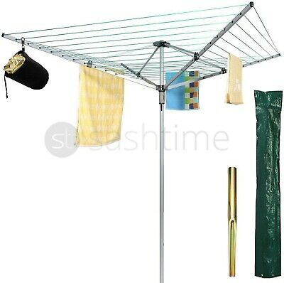 New 4 Arm Rotary Garden Washing Line Clothes Airer Dryer 45M +Free Cover & Spike