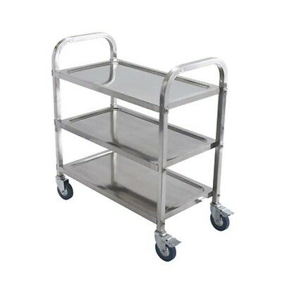"Winco Stainless Steel 3 Tier Trolley with Casters Utility Cart 30"" x 16"" SUC-30"