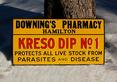 KRESO DIP antique TIN SIGN for Livestock HAMILTON Montana DOWNING'S Pharmacy