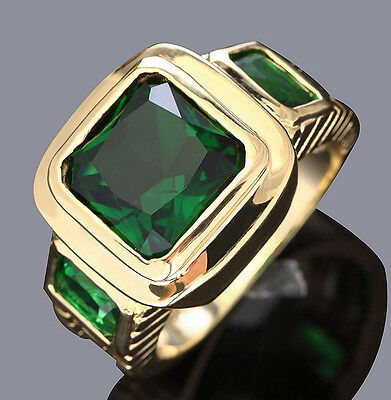 AAA Jewelry Hot Men Green Emerald 10KT Yellow Gold Filled Rings Size 7-13 Gift
