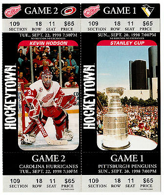 Detroit Red Wings 1998 2 joined tickets Games 1&2 featuring Stanley Cup & Hodson