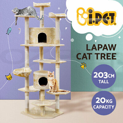 i.Pet Cat Scratching Tree Scratcher Post Pole Furniture Bed Gym House Toy 203cm