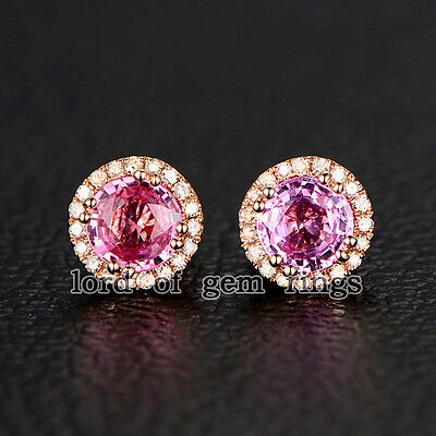 Double HALO Round Cut Pink Sapphires Pave Diamonds Earrings 14K Rose Gold