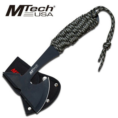 """NEW! 9"""" Mtech Full Tang Cord-Wrapped Throwing Tomahawk Axe w/ Sheath"""