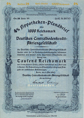 Berlin Deutsche Centralbodenkredit-AG bond 1000 RM 1942  uncancelled