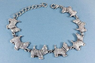 Adjustable Westie West Highland Terrier  Bracelet antique silver plated