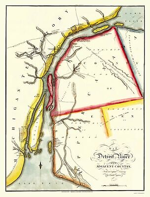 Old North America Map - Detroit River, Adjacent Areas - Melish 1813 - 23 x 30.24