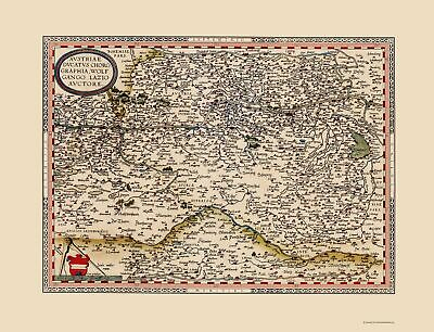 Old Austria Map - Ortelius 1570 - 23 x 30.05