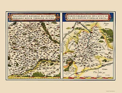 Old Germany Map - Bavaria, Baden-Wuerttemberg Regions - Ortelius 1570 - 23 x 30