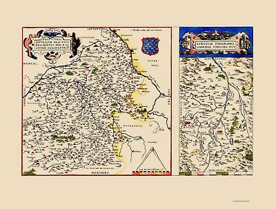 Old France Map - Berry and Limagneantique Regions - Ortelius 1579 - 23 x 30.41