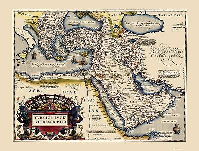 Old Middle East Map - Ottoman Empire - Ortelius 1595 - 23 x 30.40