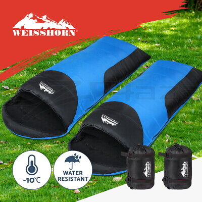 2x Outdoor Camping Envelope Sleeping Bags Thermal Compact Tent Hiking Winter -10