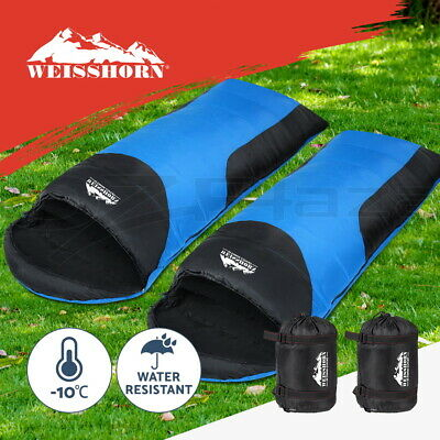 WEISSHORN 2X Camping Envelope Sleeping Bag -10°C Single Thermal Tent Hiking Blue
