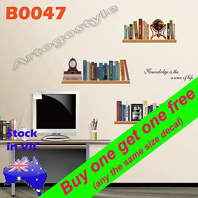 B0047 Reusable Bookrack Book Wall Decal Sticker office study kid room home decor