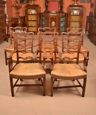 Set 8 Vintage Chippendale Dining Chairs from Harrods