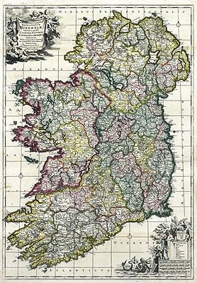 MP31 Vintage 1700's Latin Historical Map Of Ireland Re-Print A1/A2/A3
