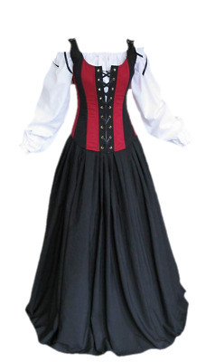 Renaissance Bodice Skirt and Chemise Medieval or Pirate Gown Dress Costume M