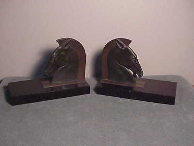 Antique French Art Deco Bronze Book-Ends - Roman Horse Head On Marble - E. Guy