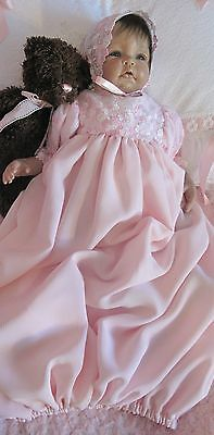 Pink Crinkle Chiffon and Embroidered Mesh Layette Gown for Newborn/Reborn Baby