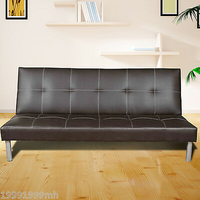 HOMCOM Faux Leather Sofa Bed Furniture Foldable Backrest Recliner New