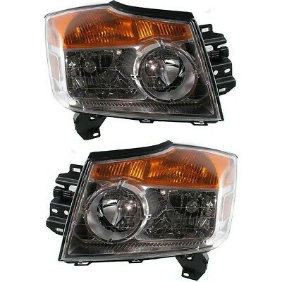 Headlights Headlamps Left & Right Pair Set for 08-10 Nissan Armada