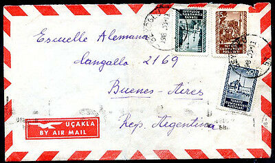 TURKEY TO ARGENTINA Air Mail Cover w/ BENEFICIENCY Seal on the Back VF