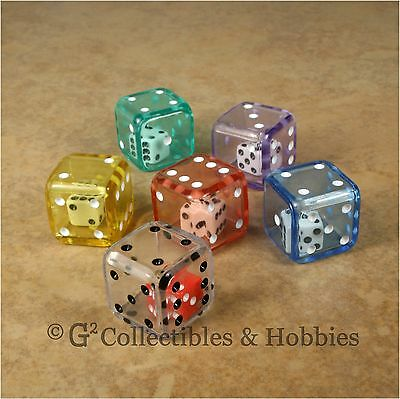 New Set of 6 DOUBLE DICE - 6 Colors RPG D&D Game D6 Math 19mm 3/4 inch