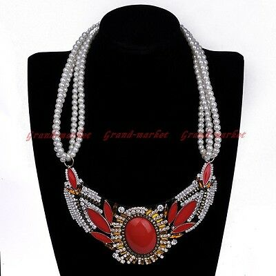 Fashion Multilayer Pearl Chain White Crystal Red Resin Statement Bib Necklace