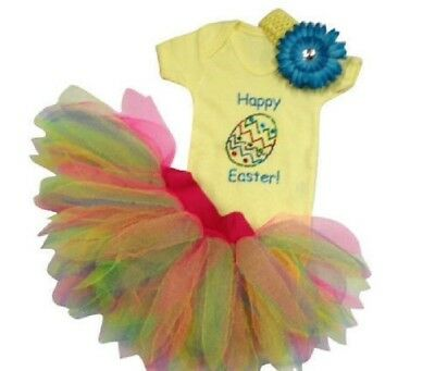 Happy Easter Yellow Sparkle Baby Grow Neon Tutu 80s Fancy Dress Party Costume