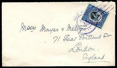 PANAMA TO GREAT BRITAIN Cover 1912 VF