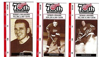 Detroit Red Wings 3, 70th Anniv. tickets-Sid Abel, Delvecchio, Mickey Redmond